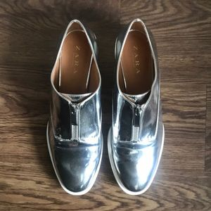 Zara Silver Zipper Bluchers